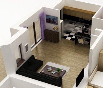 Profesjonalny przekrój mieszkania 3D