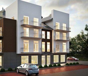 Architektoniczna wizualizacja 3D bloku mieszkalnego