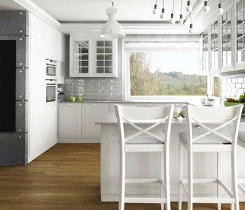 Wizualizacja 3D kuchni w stylu Skandynawskim