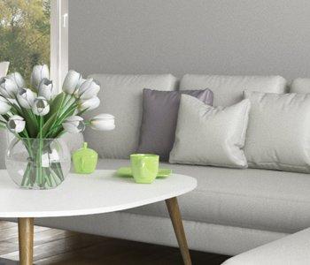 Wizualizacja 3D salonu w stylu skandynawskim