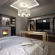 Wizualizacja 3D sypialni na poddaszu