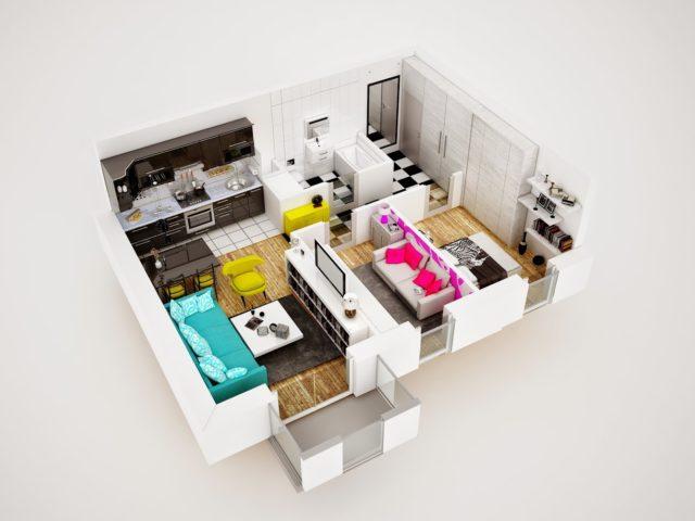 Przekroj i wizualziacja mieszkania 3d